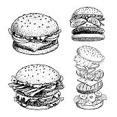 Delicious burgers set. Hand drawn sketch style drawings of different burgers. With bacon, cheese, salad, tomatoes, cucumbers etc. Fast food retro vector illustrations collection isolated on white background.