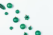 Christmas baubles in green color on white background