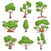 Cartoon trees set. Different types plants in comic style. Nature fantasy elements. Vector illustrations, icons isolated on white background.