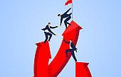 Business people climb to the top, leaders help their peers to the top, teamwork and friendship