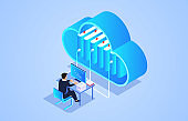 Businessman sitting and using wireless cloud computing service to work and study