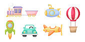 Collection of cute cartoon transport for boys isolated on white background. Set of transportation theme for design of kid's rooms clothing textiles album card invitation. Flat vector illustration.