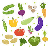 Doodle vegetables set. Cucumbers, beet, mushrooms, carrot, green pea, pepper, zucchini, eggplant, tomato, radish, potatoes, broccoli, cabbage and onion. Sketchy veggies collection. Vector Scandinavian style drawings.