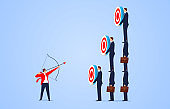 Goals and challenges, businessman holding bow and arrow aiming at targets of different heights held by his companion