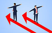 One businessman follows the arrow to go up, another businessman goes down in the opposite direction of the arrow