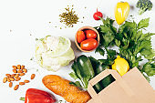 Healthy food shopping concept with paper bag
