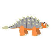 Cartoon ankylosaurus. Flat simple style herbivore dinosaur. Jurassic world animal. Vector illustration for kid education or party design elements. Isolated on white background.