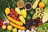 Healthy vegan food background organic fresh vegetables