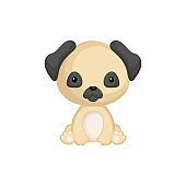 Cute funny sitting puppy pug isolated on white background. Pet adorable animal character for design of album, scrapbook, card and invitation. Flat cartoon colorful vector illustration.