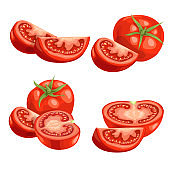 Cartoon different types tomatoes set. Red ripe vegetables isolated on white background. Slices, tomato compositions and tomato quarter segments. Vector illustrations.