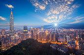 Skyline of Taipei cityscape Taipei night view city