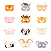 Set of assorted animal masks, party supplies, birthday party favors, play accessories, photo booth props for kids