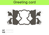 Cute badger fold-a-long greeting card template. Great for birthdays, baby showers, themed parties. Printable color scheme. Print, cut out, fold, glue. Colorful vector stock illustration.