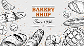 Sketch style bakery poster template. Top view. Bread, buns, loafs, croissant and other bread goods. Hand drawn design for markets and packages. Vector illustration.