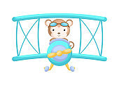 Cute monkey pilot wearing aviator goggles flying an airplane. Graphic element for childrens book, album, scrapbook, postcard, mobile game.