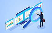 Financial data monitoring and analysis, businessman standing in front of magnifying glass and observing webpage data