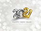 Happy New Year 2021 greeting card with wish text