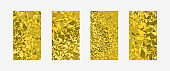 Vivid golden graphic cover layout. Set of 4 designs. Low poly crystal texture patterns