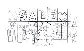 Christmas sale shop window. Sketch. Simple pencil drawing