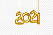 2021 New Year card. Christmas Decorations Hanging on a Gold chain Gold number 2021 on checkered background. Happy New Year Design Element Template