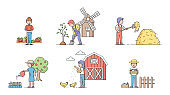 Gardening Concept. Set Of Men And Women Gardening, Planting And Work On Farm. Characters Feed Animals, Take Care Of Plants, Do Different Job On Farm. Cartoon Linear Outline Flat Vector Illustration