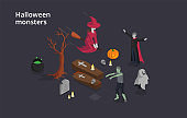 Halloween Monsters And Evil Spirits Concept. A Set Of Halloween Monsters The Wizard And Witch On A Broomstick, Ghost, Coffins, Zombie And Cauldron With Boling Poison. 3d Isometric Vector Illustration
