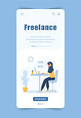 Woman freelance. Landing page template. Arabian girl in headphones with laptop sitting at a table. Mobile background. Concept illustration for studying, online education, work from home.