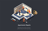 Concept Of Apartment Repair. Professional Construction Crew Led By Foreman In Uniform Repair Or Office According The Project. People Work With Work Tools Paint Walls. Isometric Vector Illustration