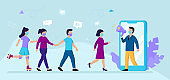 Flat Vector Cartoon Illustration With Male And Female Characters. Web Influencer Marketing Concept Art. Targeted Mobile Business And Client Attraction. Man And Women Going Towards Person In Smartphone