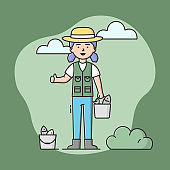 Concept Of Fishing And Rest. Fisherwoman Is Standing And Holding Bucket Of Fish In Hand. Sport Outdoor Woman Leisure or Relaxation At Her Hobby. Cartoon Linear Outline Flat Style. Vector Illustration