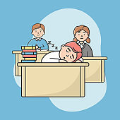 Concept Of High School Education. Students Teens Sitting On Lecture In Classroom. Pupils Boys And Girls Sitting At Desks And Listening Teacher. Cartoon Linear Outline Flat Style. Vector Illustration