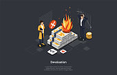 World Global Economic Crisis And Risks Investment. Business People Losing Money Because Of Devaluation. Businessmen Are Looking At Burning Stacks Of Dollar Banknotes. Isometric 3D Vector Illustration