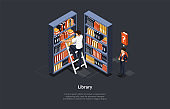 Studying And Education Concept. Pupil Is Looking For A Book In The Library. Male Character Climbs The Stairs To Find A Library Book On A Wooden Bookshelf. Colorful 3d Isometric Vector Illustration