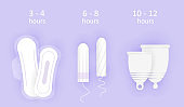Feminine hygiene composition. Wearing time of hygiene products. Choice between menstrual cup, tampon and pads. Protection for girls in critical days. 3D realistic vector illustration of woman hygiene.