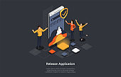 Isometric Concept Of Research and Develop Of Mobile Application. People are Making the Mobile Application Release. Vector illustration