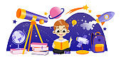 Concept Of Astronomy And Back To School. Boy Astronomer Learn The Subject. Student Is Sitting Near Big Telescope In Surrounding Rocket With Planets. Cartoon Linear Outline Flat Vector Illustration