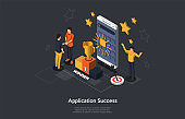 Isometric Concept Of Mobile Application Success. People are Happy About the Success and Victory of the Project. Vector illustration