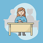 Concept Of Hi School Education, Graduation. Young Girl Teen Is Writing Notes On Lecture In Classroom. Silhouettes Of Students On Background. Cartoon Linear Outline Flat Style. Vector Illustration