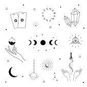 Vector witch magic design elements set. Hand drawn, doodle, sketch magician collection. Witchcraft symbols. Perfect for logo, tattoo, textile, cards, mystery.
