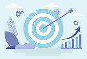 Vector Illustration In Flat Style With Cartoon Items On Blue Background. Blue Darts Aim With Arrow In Middle, Different Business Infographic, Diagram Around. Horizontal Composition Of Target Concept
