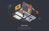 Paid Media Marketing Concept, Pay Per Click, PPC Campaign, Marketing platform, Online Documentation Inspection, Identity Development. Paid Media, Digital Auditing. Isometric Vector Illustration