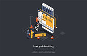 Internet Advertising Concept. Advertising Strategies And Development, Social Media. Marketers Search Strategies, Analyze, Develop And Implement Mobile Advertisement. Isometric Vector Illustration