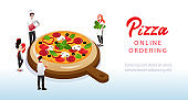 People Cook Pizza. Website Landing Page. Tiny Characters In Chef Uniform Are Decorating Huge Pizza Holding Ingredients In Hands. Online Pizza Ordering. Web Page Cartoon Flat Style Vector Illustration