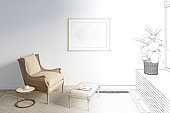The sketch becomes a real bright room with a horizontal poster on the wall above the rattan chair with a footrest next to a coffee table with a cup. Front view.