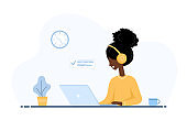 Women freelance. African girl in headphones with laptop sitting at a table. Concept illustration for working from home, studying, education, communication, healthy lifestyle. Vector in flat style.