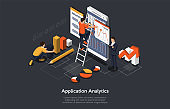 Isometric Concept Of Research and Develop Of Mobile Application. People are Working on Mobile Application Analytics. Vector illustration