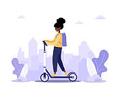Online delivery service concept home and office. Scooter with fast woman courier. Shipping restaurant food and mail. Modern vector illustration in flat cartoon style.