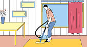 Cleaning Service Concept. Male Character With Vacuum Cleaner Clean Home Or Office. Cleaning Company Worker Doing Housework, Vacuuming Carpet. Linear Outline Cartoon Flat Style. Vector Illustration
