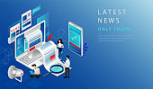 Isometric 3D Concept Of Latest News. Website Landing Page. News Update, Online News. People Work In Team, Sorting True Information From Fake, Publish True News. Web Page Cartoon Vector Illustration