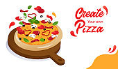 Tasty Cheese Pizza With Ingredients On Wooden Food Stand. Website Landing Page. Possibility Of Making Pizza With Own Ingredients And Online Pizza Ordering. Web Page Cartoon Flat Vector Illustration